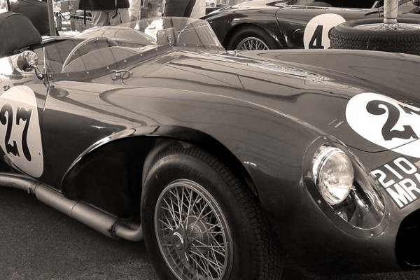 goodwood revival historic motorsport and aviation event sepia image, classic racing car