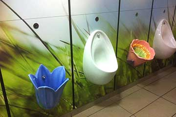 dobbies garden centre liverpool, designer urinals, designer washroom, flower urinals