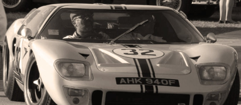 goodwood revival historic motorsport and aviation event sepia image, ford gt40