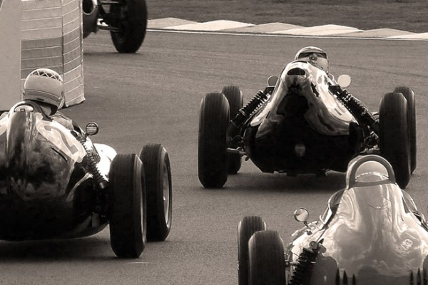 goodwood revival historic motorsport and aviation event sepia image, goodwood motor circuit, classic car race meeting