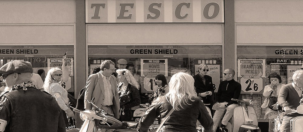 goodwood revival historic motorsport and aviation event sepia image, vintage tesco supermarket