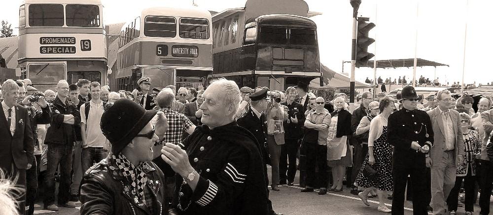 goodwood revival historic motorsport and aviation event sepia image, vintage policeman, copper